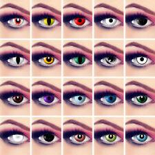 Farbige Kontaktlinsen Fun Motiv Linsen Party Zombie Halloween weiß,rot,grün,blau