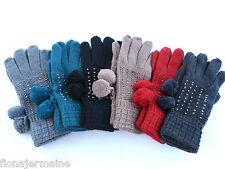 Winter Handschuhe Fingerhandschuhe Strickhandschuhe lang warm mit Strasssteinen