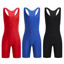 Mens Solid Modified Singlet Adult Lycra Sleeveless Wrestling Bodysuit Underwear