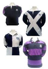 Mens Rugby Shirt 100% Cotton Long, short Sleeve SCOTLAND S - 3XL