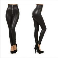 Women's Leggings Punk High Waist Faux Leather Leggings Zipper Legging S-2XL