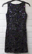 Women Ladie New Sleeveless V Back Short Full Sequin Bead Jazzy Party DressUK8-14