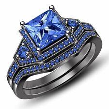 2.33 ct Blue Diamond Bridal Set Black Sterling Silver Ring Jewelry