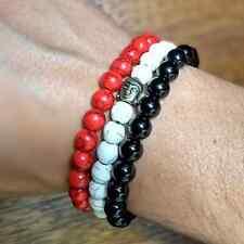 Natural Gemstone Beads Buddha Head Beaded Onyx Rock Red Agate Handmade Bracelets