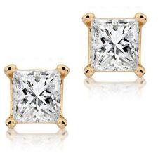 Square Clear CZ Princess Cut 14k Yellow Gold Basket Set Screw Back Stud Earrings