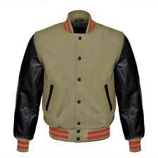 Beige Wool Black Real Leather Arms Letterman College Baseball Varsity Jacket