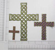 Iron On Appliques - Celtic Rope Cross Metallic Gold