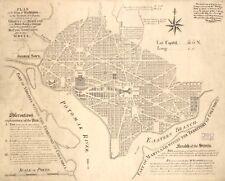 Stampa POSTER Antico città americane città mappa degli stati Washington DC