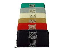 Portemonnaie Eule Geldbörse Leder Geldtasche Geldbeutel 4 Farben 10x6 cm NEU