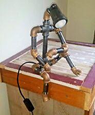 Robot Steampunk Industrial Light Black and Brass Pipe Desk Lamp Dorm Room Lamp