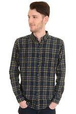 Mens 60's 70's Mod Brushed Flannel Indigo Check Plaid Lumber Shirt