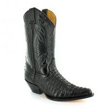Grinders Carolina Crocodile  Black Western Leather Boots High Pointed Toe