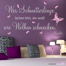 """WANDTATTOO Spruch """"Wer Schmetterlinge lachen hört"""" Novalis Wandaufkleber"""
