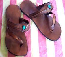 Men's Tan Leather Roman Sandals Handmade Toe Post Open Flats Hobo Shoes Multi-US