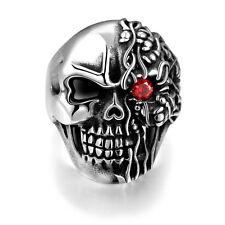 Stainless Steel Gothic Biker Tribal Ring Black Red Men's Unisex Skull Eye B222