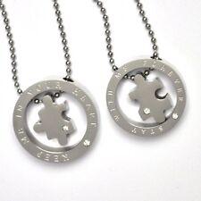 Collana per COPPIA CATENA CON CIONDOLO PER PARTNER di acciaio anello + Puzzle
