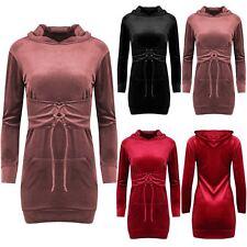 Womens Velour Velvet Hooded Corset Belted Long Sleeve Ladies Hooded Mini Dress