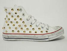 Converse all star Hi borchie ORO  scarpe donna uomo Bianco - nero  artigianali
