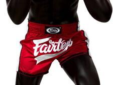 Fairtex BS1704 Shorts Trunks Satin Kick Boxing Muay Thai Red White Slim Cut MMA