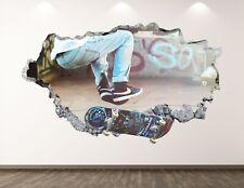 Skater Wall Decal Art Decor 3D Smashed Sport Skateboard Kids Room Sticker BL109