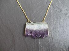 Raw Large Amethyst Pendant Women Girls Gold Necklace Chain Natural Healing UK