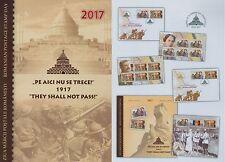 Rumänien 2017 Tag der Briefmarke,Orden,Weltkrieg Mi.7247-48,Zf,KB,Block 704,FDC
