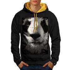 Wellcoda Panda Face Cute Mens Contrast Hoodie, Beautiful Casual Jumper