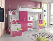 Hochglanz Hochbett PATI mit Schrank, Schreibtisch und Regal in der Treppe  weiß