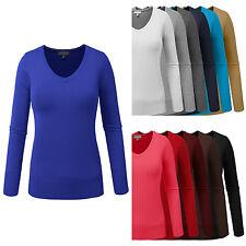 NE PEOPLE Women Light Basic Long Sleeve V Neck Pullover Knit Sweater NEWT80