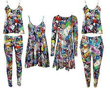 NEW LADIES BANG COMIC PRINT VEST SWING TUNIC DRESS LEGGINGS UK 8-26