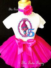 Trolls Poppy Hot Pink Blue 5th Fifth Birthday Girl Tutu Outfit Shirt Set Party