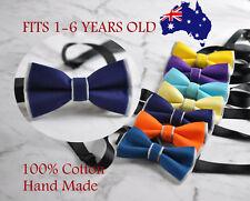 Baby Boy Kids 100% Cotton 2 Layers Bow Tie Wedding Pink Navy Blue Yellow Grey