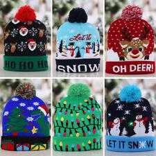 Christmas Decoration Knit Cap LED Light Hat Santa Snowman Elk Adult Child Gift