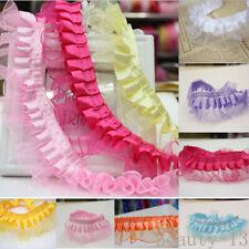 1/10Yards Satin Pleated Organza Lace Edge Curtain Trim Gathered  Elastic Ribbon