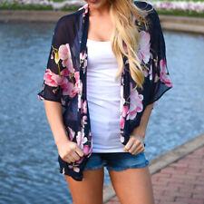 Women Floral Print Beach Chiffon Loose Shawl Kimono Cardigan Top Cover Coats HOT