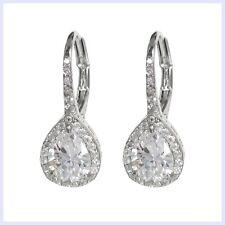 925 Sterling Silver Sparklely Clear Cubic Zirconia Teardrop Leverback Earring