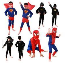 NEW Batman Superman Spiderman Superhero Kids Halloween Party Costumes 2-10years