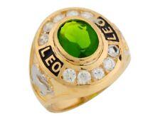10k or 14k Gold Simulated Peridot CZ August Birthstone Leo Zodiac Mens Ring