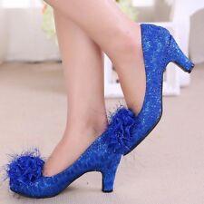 Womens Sequins Floral Stilettos Low Heel Loafers Wedding Glitter Pumps Shoes