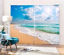 Charming Beach Sun 3D Blockout Photo Mural Printing Curtains Draps Fabric Window