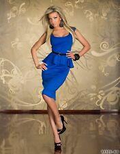 Sexi abito vestito donna corto mini ballo BLU maniche corte rouge peplo