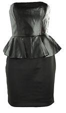 New black strapless PU faux leather peplum pencil dress size Au 6-14