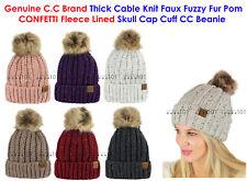 00479df000c C.C Cable Knit Faux Fuzzy Fur Pom CONFETTI Fleece Lined Skull Cap CC Beanie