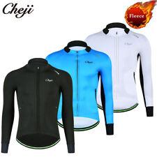 CHEJI Men's Fleece Cycling Jacket Thermal Winter Bike Clothing Long Sleeve Shirt