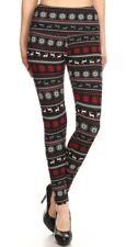 Fleece Lined Reindeer and Snowflake Holiday Leggings