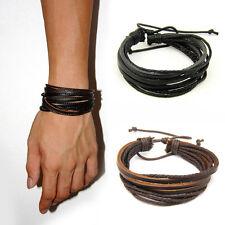 100% Hand-Woven Leather Braided Rope Bracelet Wristband Men Women USA SELLER