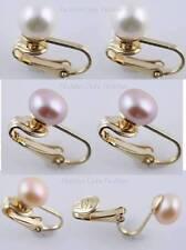 1 Pair Goldtone 'U' Clip On FreshWater Pearl Studs,Earrings:Cream,Pink,Or Purple