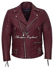 'RECKLESS' Men's Burgundy  Biker Style Motorcycle Real Cowhide Leather Jacket