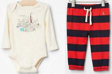 BabyGAP Boy Long Sleeve Bodysuit + Soft Pants Red Navy Stripe Cotton 12-18 18-24