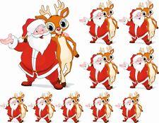 Santa & Rudolf Christmas Stickers Graphics Nursery Wall Window Decorations Art